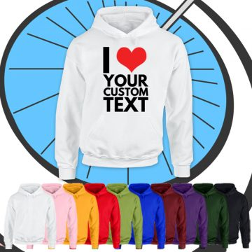 Kids I Heart Custom Text Hoodie