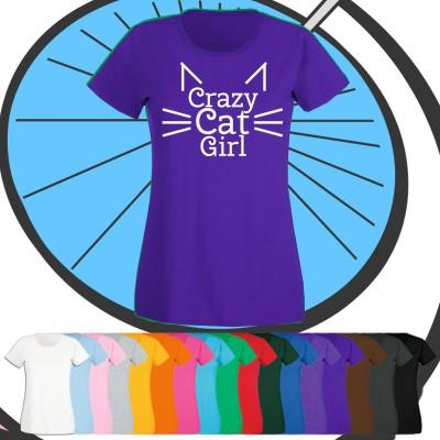 Ladies Crazy Cat Girl T Shirt