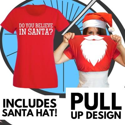 Ladies Pull Up Santa T Shirt & Hat