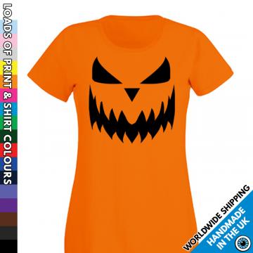 Ladies Pumpkin Face Halloween T Shirt