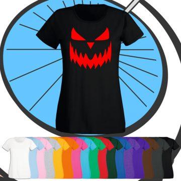 Ladies Halloween Pumpkin Face T Shirt