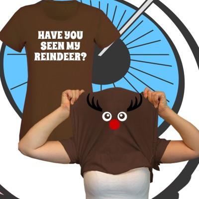 Ladies Pull Up Reindeer T Shirt
