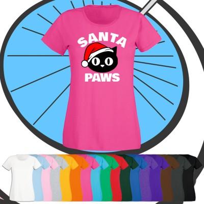 Ladies Santa Paws Christmas T Shirt