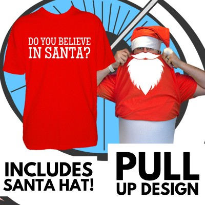 Mens Pull Up Santa T Shirt & Hat