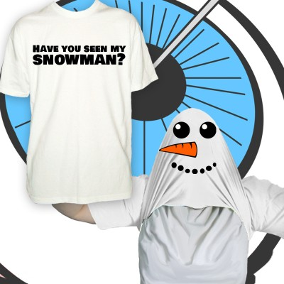 Mens Pull Up Snowman T Shirt