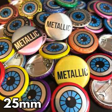 25mm Metallic Pin Badges