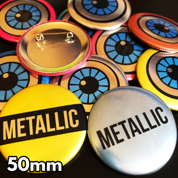 50mm Metallic Pin Badges