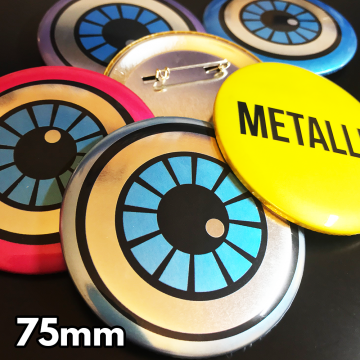 75mm Metallic Pin Badges