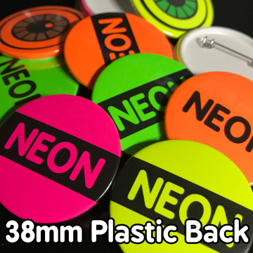 38mm Neon Plastic Pin Badges