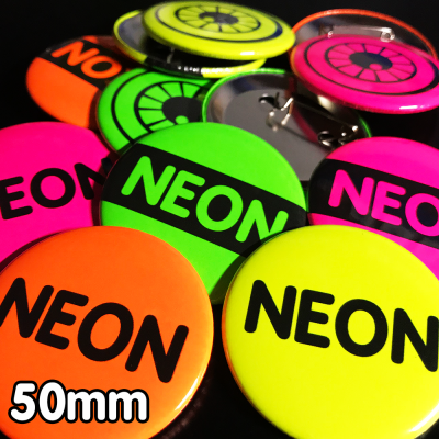 50mm Neon Pin Badges