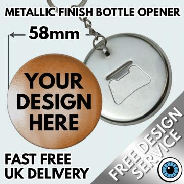 58mm Metallic Bottle Opener Keyrings