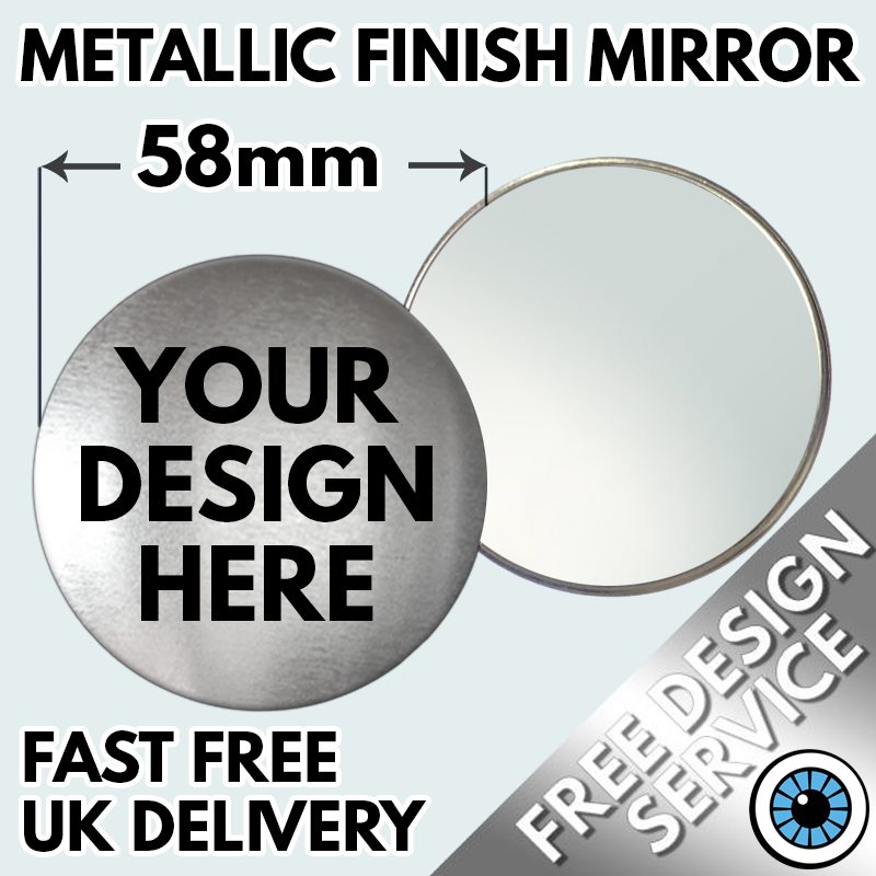 Our 58mm Pocket Mirrors are a perfect addition to any Make Up Artists bag. Choose your Logo, design or photo & create your own personalised 58mm Pocket Mirrors Great for Custom Business Promotions, Make Up Mirrors, Wedding Mirrors, Hen night Keepsakes and Charity Mirrors ideal for Fundraisers