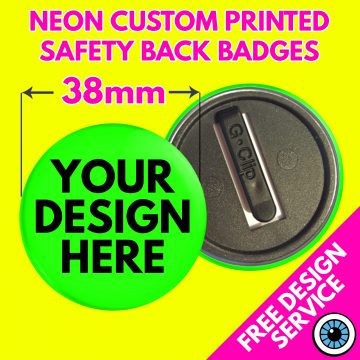 38mm Neon Safety Back Badges