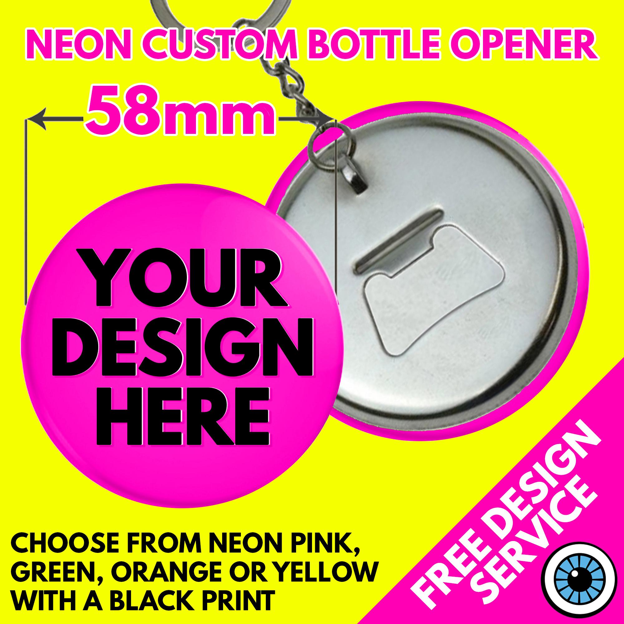 58mm Custom Neon Bottle Opener Keyrings