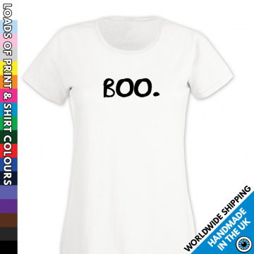 Ladies BOO!!! Understated Halloween T Shirt