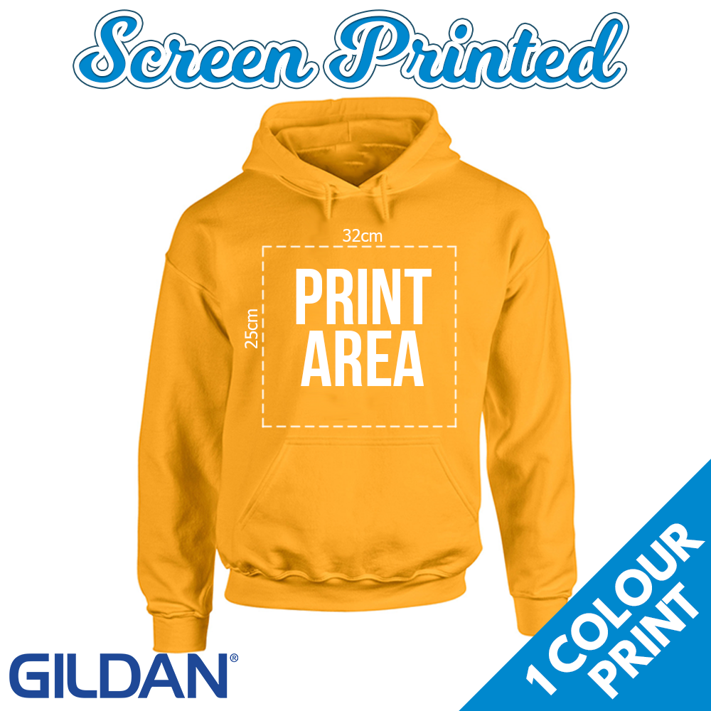 Adults Screen Printed Hoodies - 1 Colour Front Print on a Gildan Hoodie 6d0e5704f1c3