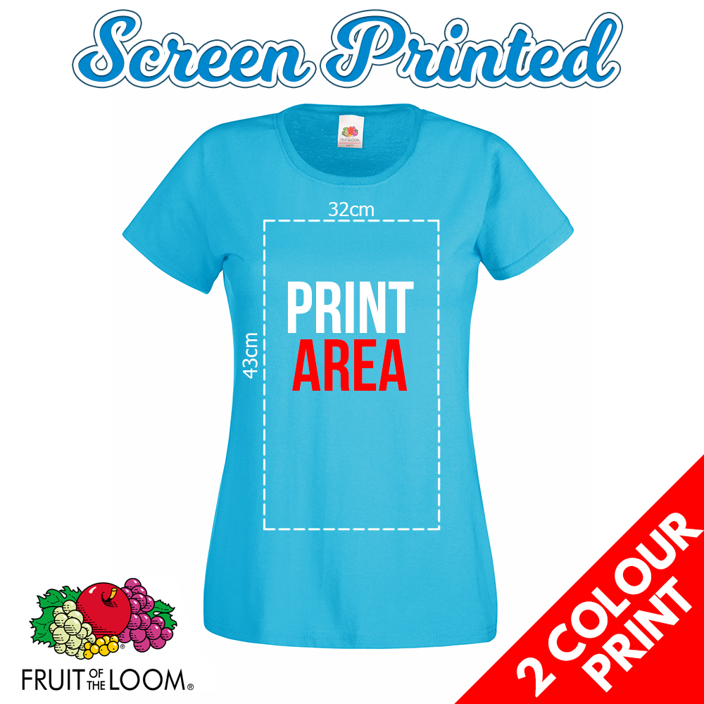 ef7f85398 Ladies Screen Printed T Shirts – 2 Colour Front Print