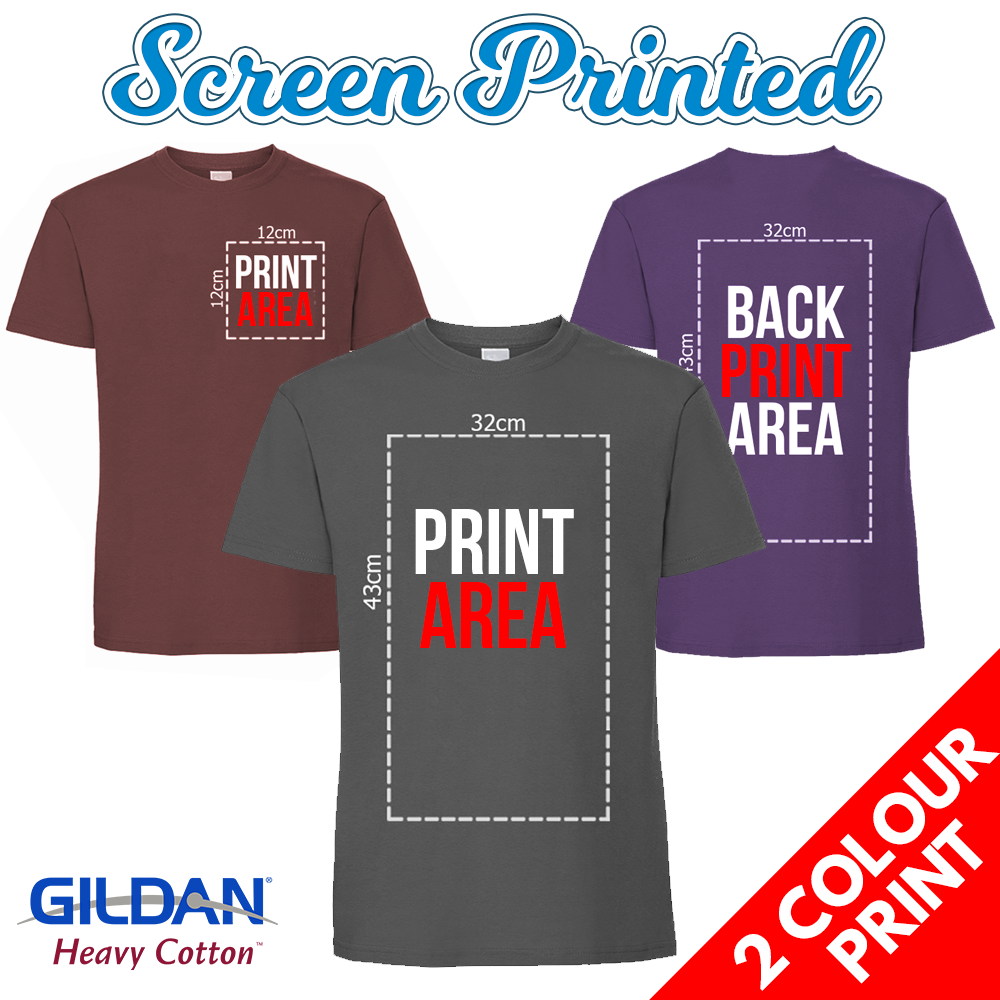 101609040 Mens Screen Printed T-Shirts – 2 Colour Print – Gildan Heavy Cotton T Shirts