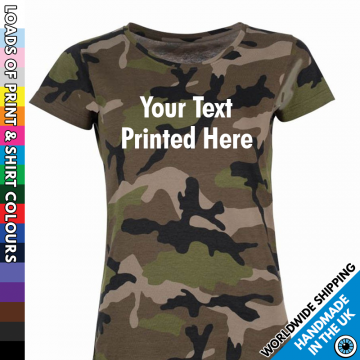 Ladies Custom Text Camouflage