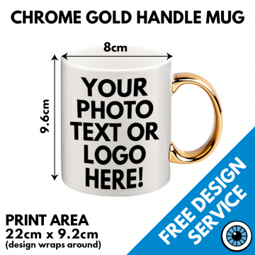 Chrome Gold Handled Mugs - Custom Printed
