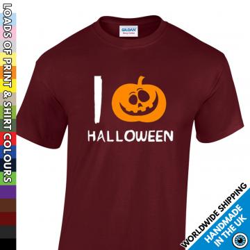 Mens I Love Halloween Pumpkin Heart T Shirt