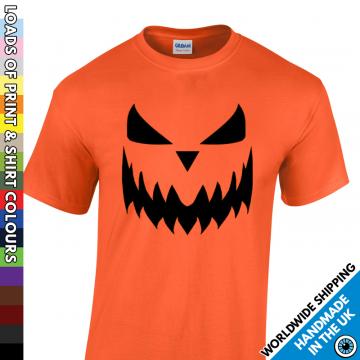 Mens Halloween Pumpkin Face T Shirt