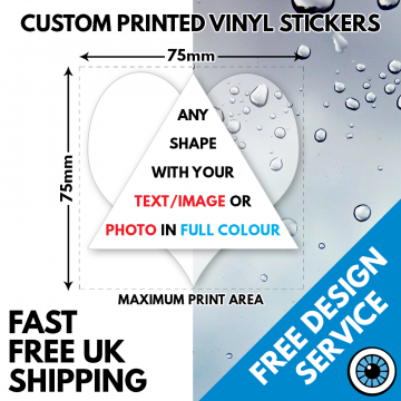 75mm Printed Vinyl Stickers