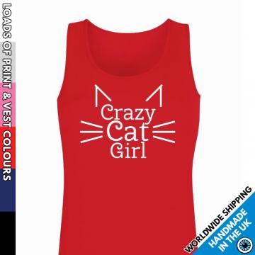 Ladies Crazy Cat Girl Vest
