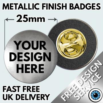 Metallic Custom Printed 25mm Clutch Badges
